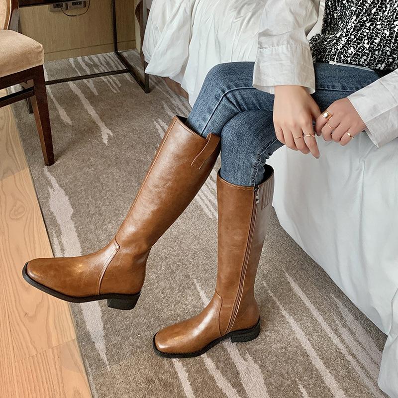 全牛皮不过膝长筒骑士靴中长靴子女秋冬棕色真皮平底侧拉链高筒靴