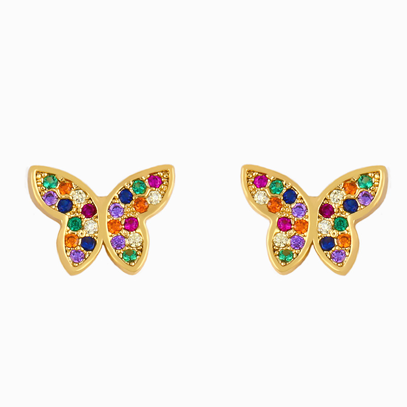 New Butterfly Earring Exaggerated Flash Diamond Earrings Wholesale NHAS206563