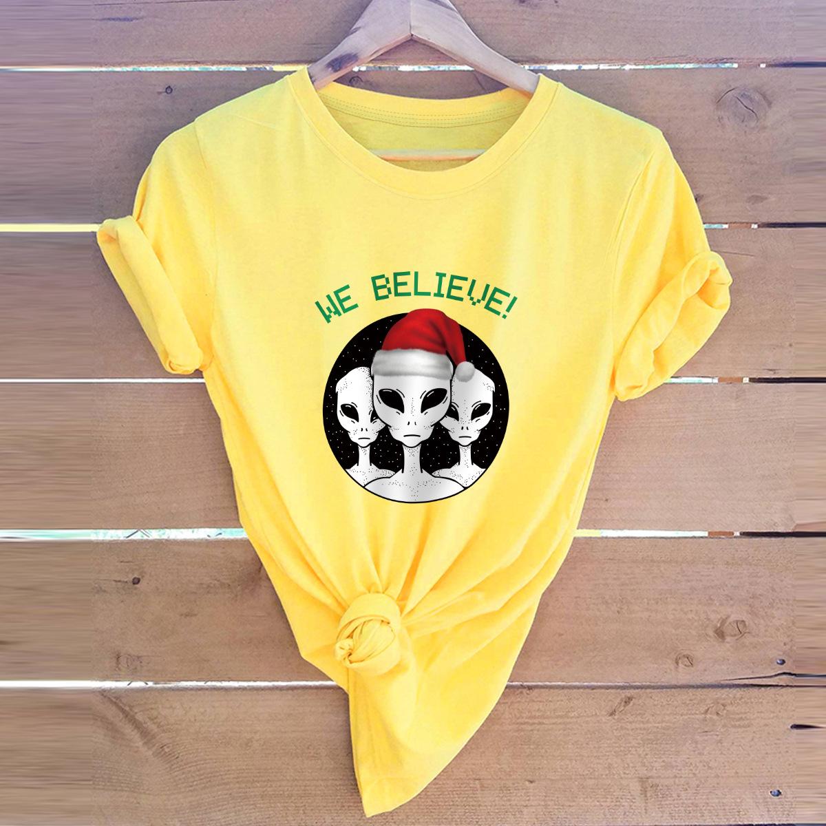 short-sleeved t-shirt women's top Merry Christmas alien NSSN4165