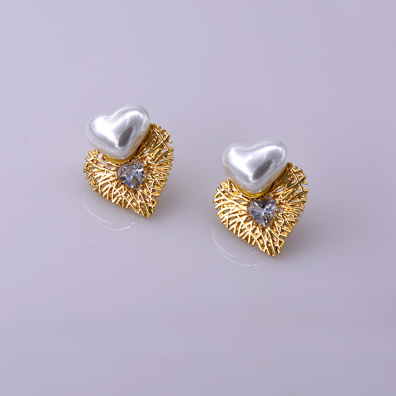 S925 silver needle heart-shaped metal branch zircon pearl earrings women wholesale NHNT205146