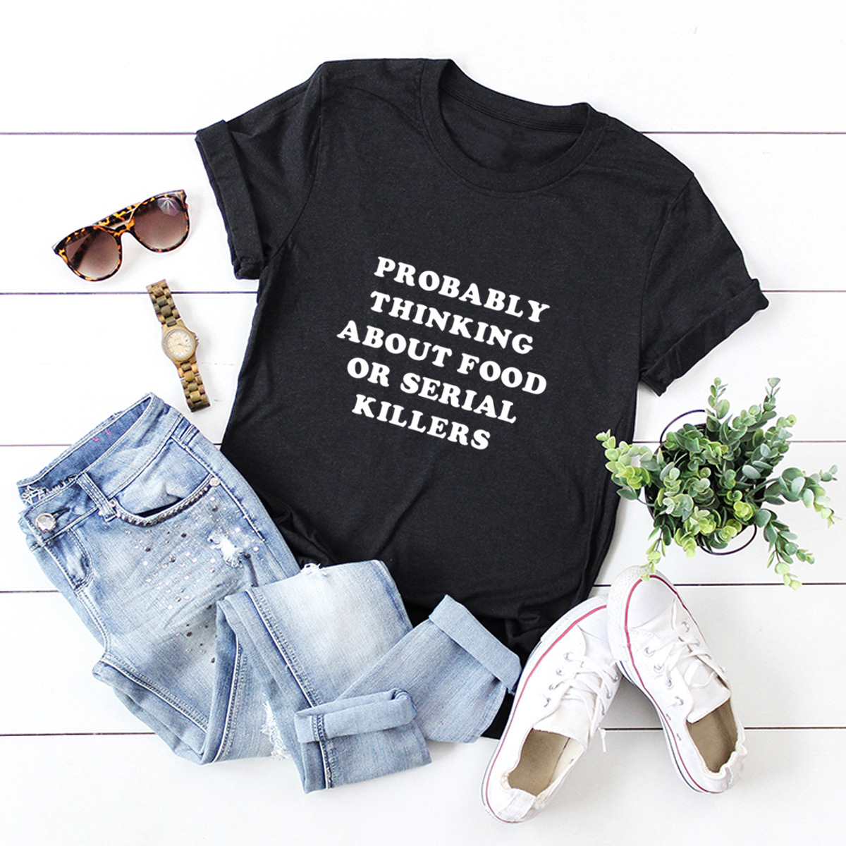 casual letters printed short-sleeved women's T-shirt NSSN1794