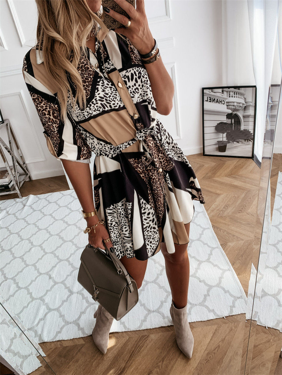 autumn and winter new long-sleeved fashion sexy printed shirt dress NSYD3738
