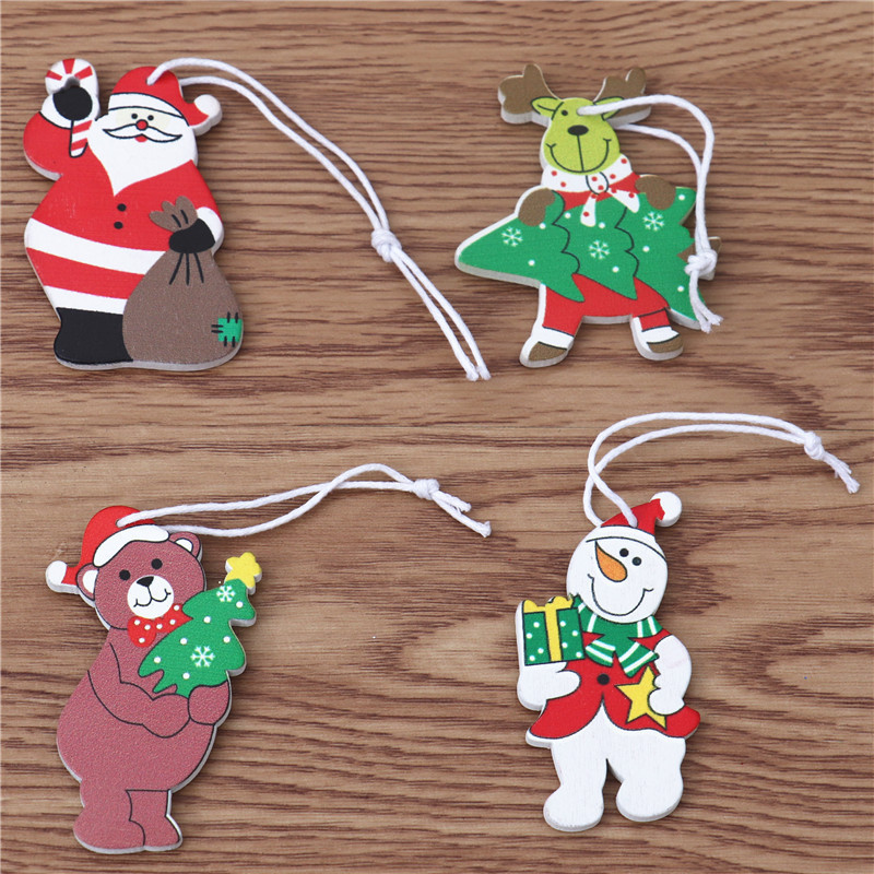 Boxed 12 pieces of wooden colored small pendants Christmas gifts  NHMV256616