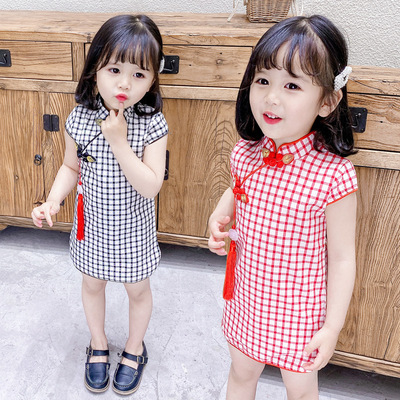 Girls plaid cheongsam skirt ethnic children's Retro Plaid Dress Baby Short Sleeve photos shooting children's qipao dresses