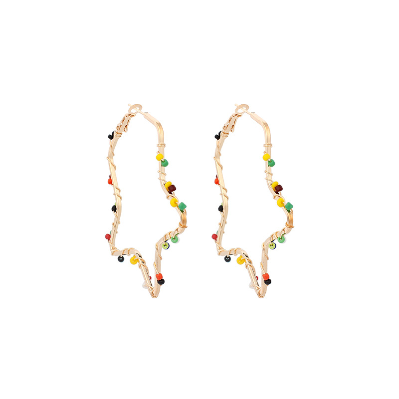 exaggerated five-pointed star hand-woven rice bead ethnic style niche star earring for women NHRN241631