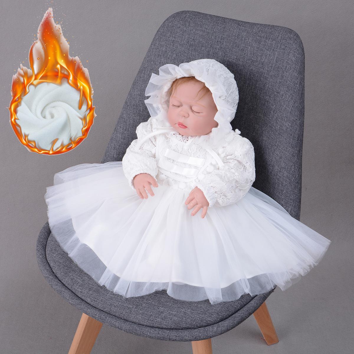 213-春秋长袖礼服婴儿加厚加绒公主裙宝宝满月裙baby连衣裙蕾丝裙