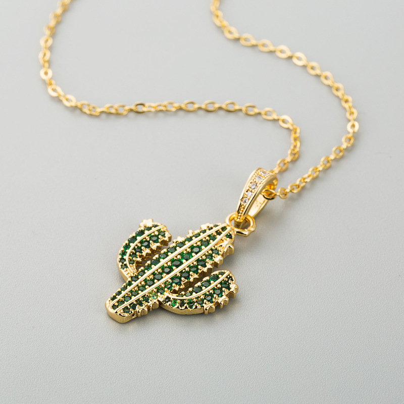 Accessories Simple Cactus Necklace Female Copper Plated 18K Gold Micro-Set Zircon Plant Pendant Snake Bone Chain NHLN196518