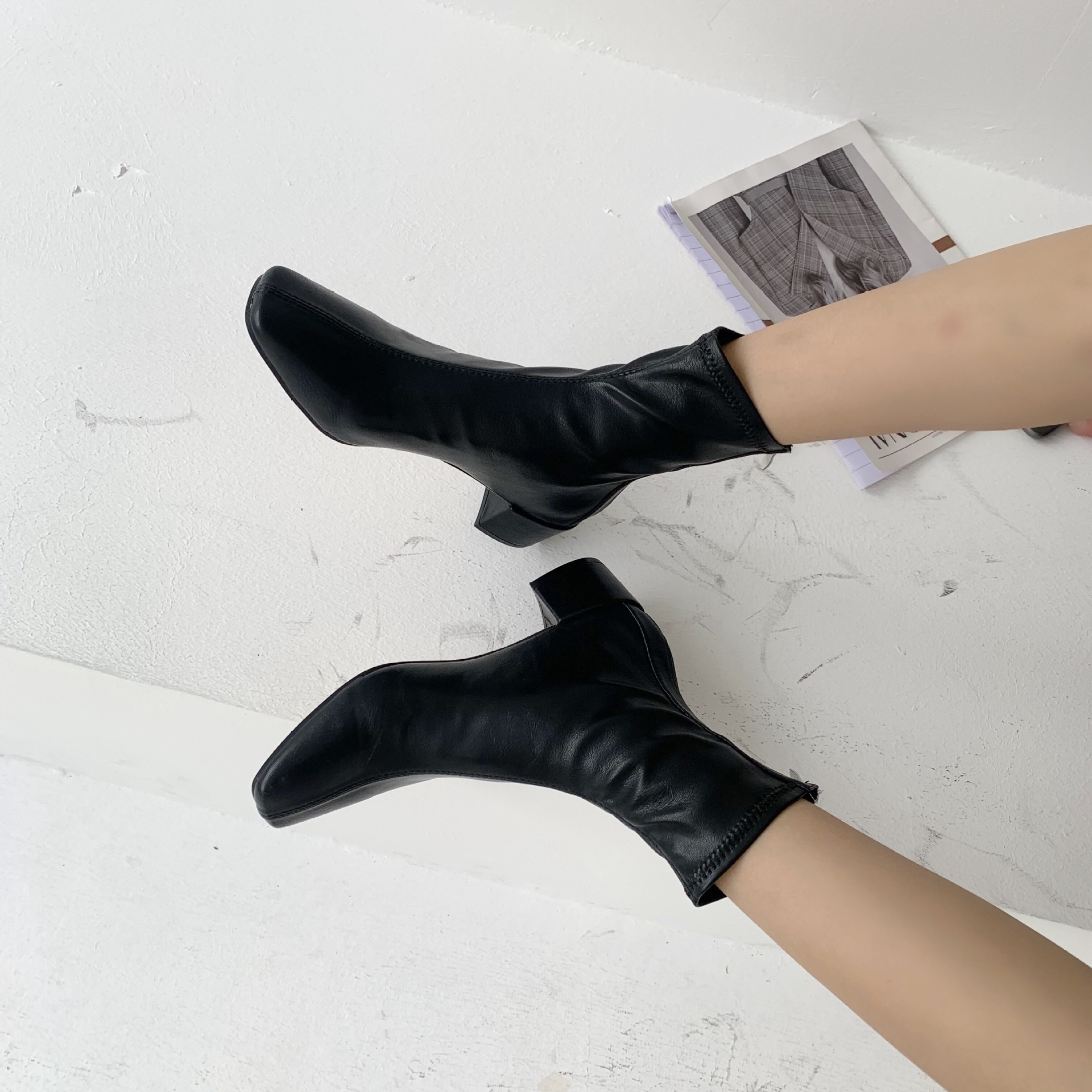 new thin boots thick heels short tube allmatch small square toe short boots for women NHCA258856