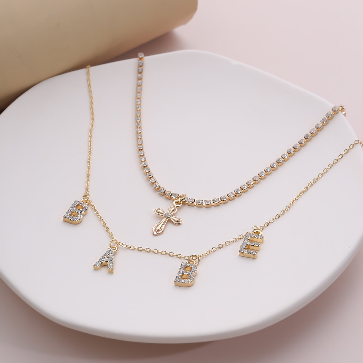 fashion jewelry cross claw chain diamond necklace micro-set handmade babe letter set necklace wholesale nihaojewelry NHXR228289