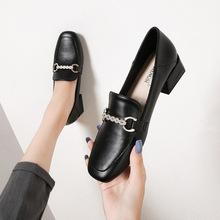 英伦小皮鞋女粗跟2020秋季新款黑色单鞋中跟小香风乐福鞋大码女鞋