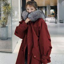 2021冬裝外套女韓版中長款大毛領加厚棉衣新款學生棉服過膝棉襖潮