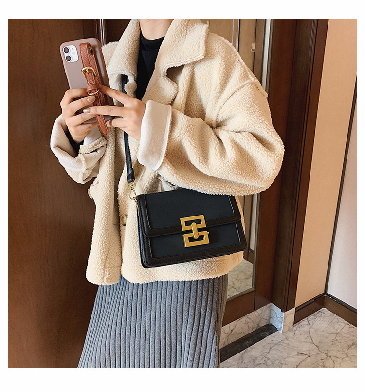 Frosted one-shoulder small square bag  NHJZ285809
