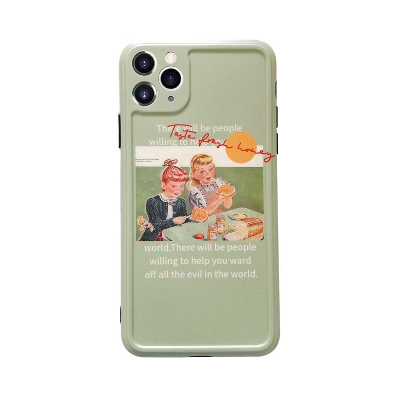 Matcha green oil painting girl Apple 11Pro max allinclusive camera phone case for 8plusXRse2 soft NHFI247511