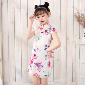 Cheongsam for kids Girls cheongsam National Girlsfloral short sleeve cheongsam children Chinese Dress dress cheongsam