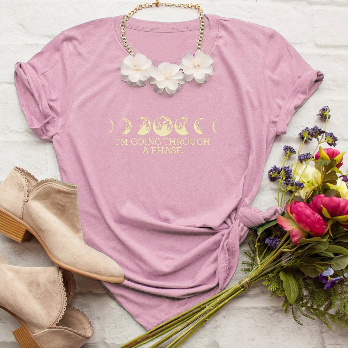 casual moon print short-sleeved women's T-shirt NSSN1787