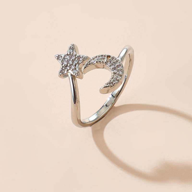 Fashion Love Silver Color Opening Adjustable Diamond Butterfly Star Love Ring