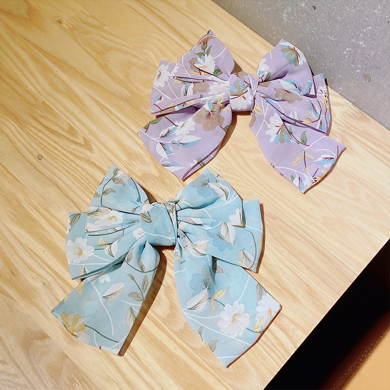 Korean big bow hairpin hair accessories chiffon printing top clip hairpin ponytail clip for women wholesale nihaojewelry NHNA238257