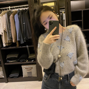Anna's same design, heavy embroidery rose knit top, lazy pullover sweater, women's loose outer wear