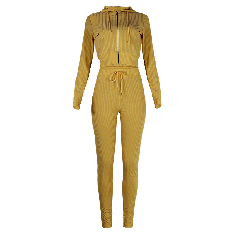 Hot Spring Fall New Women's Hooded Long Sleeve Slim Sports Casual Suit NSKX5824