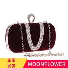 供應歐美經典時尚品牌絲絨布女包鑲鉆手指晚宴會包U型絨布包包226