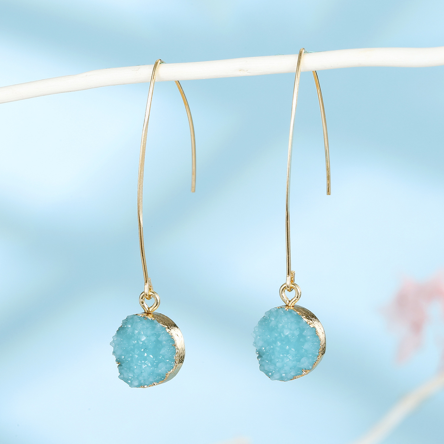 Jewelry simple earrings imitation natural stone earrings round small crystal bud resin earrings NHGO201045