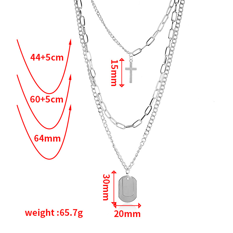 Clavicle Chain Multilayer Cross Tag Sweater Necklace wholesales yiwu suppliers china NHKQ202970