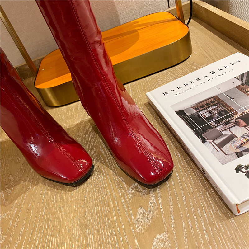 high-heeled patent leather long tube square toe red boots  NHCA284272