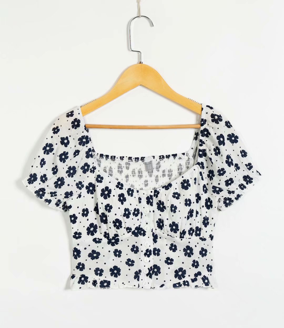 New Fashion Small Floral Square Collar Short Button Top Summer Palace Shirt Women Wholesale NHAM204814
