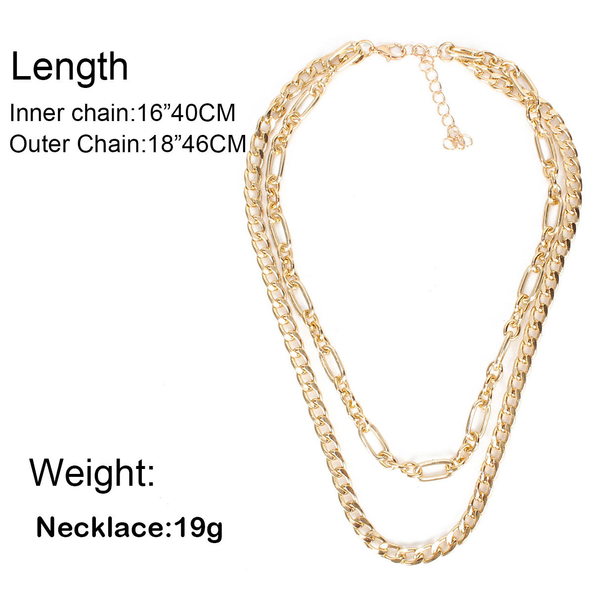 Fashion simple metal necklace jewelry  style double chain clavicle chain   nihaojewelry wholesale NHCT215395