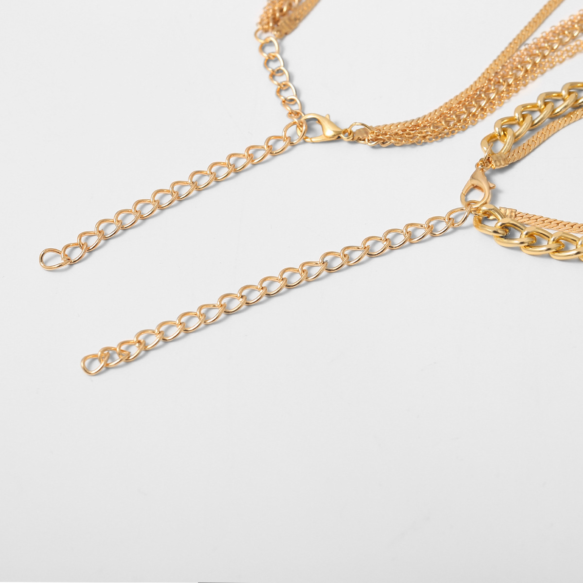 Punk metal hip-hop suit accessories female simple mix and match cross chain geometric necklace NHXR207200