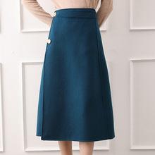 新款垂感羊毛呢半身裙女秋冬高腰a字中长裙冬季加厚呢子长款伞裙