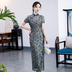 Chinese Dress cheongsam for womenSweet bud long cheongsam skirt stand collar double layer dress