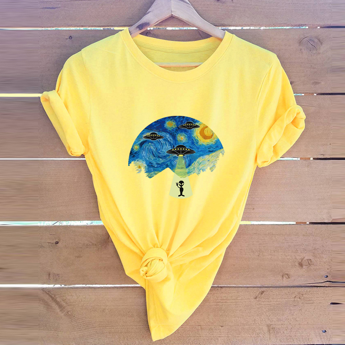 alien spaceship printing cotton short-sleeved t-shirt  NSSN3033