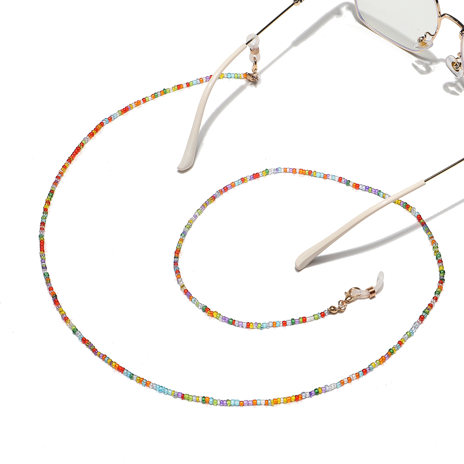 fashion handmade chain mixed color rice bead glasses rope  glasses chain NHBC267047