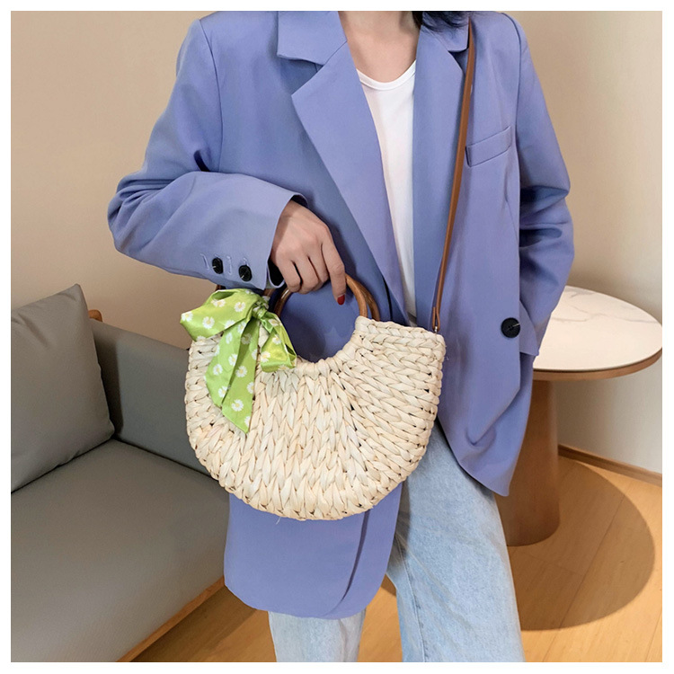 Summer new fashion bow crossbody bag simple wild woven arc curved shoulder bag  wholesale nihaojewelry NHPB220799