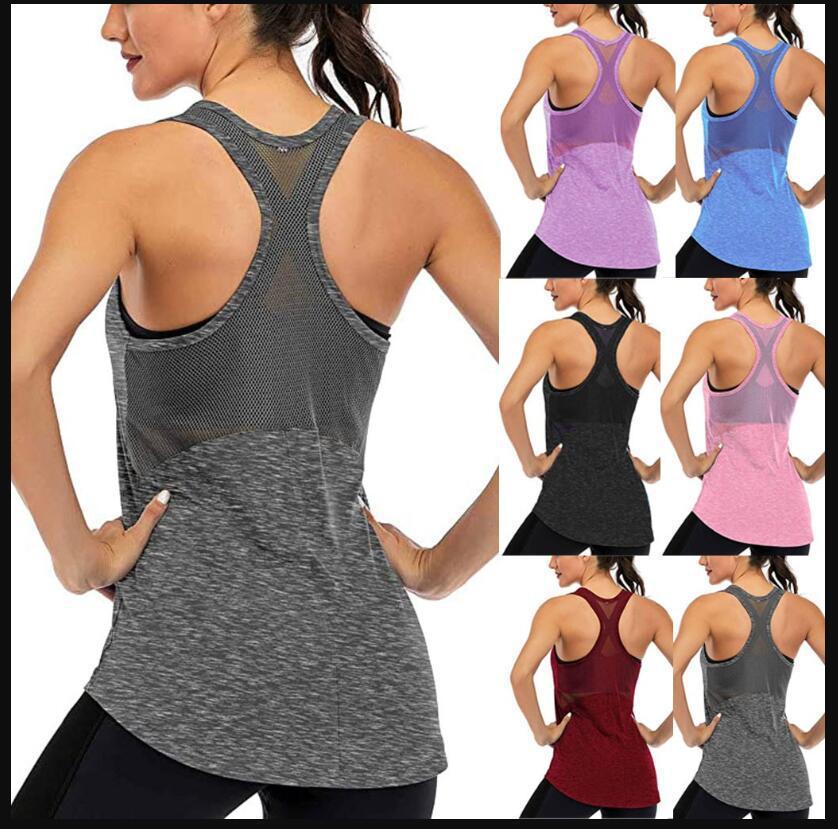 亚马逊热款女式无袖瑜伽健身背心活动透气网眼露背瑜伽上衣9色4码