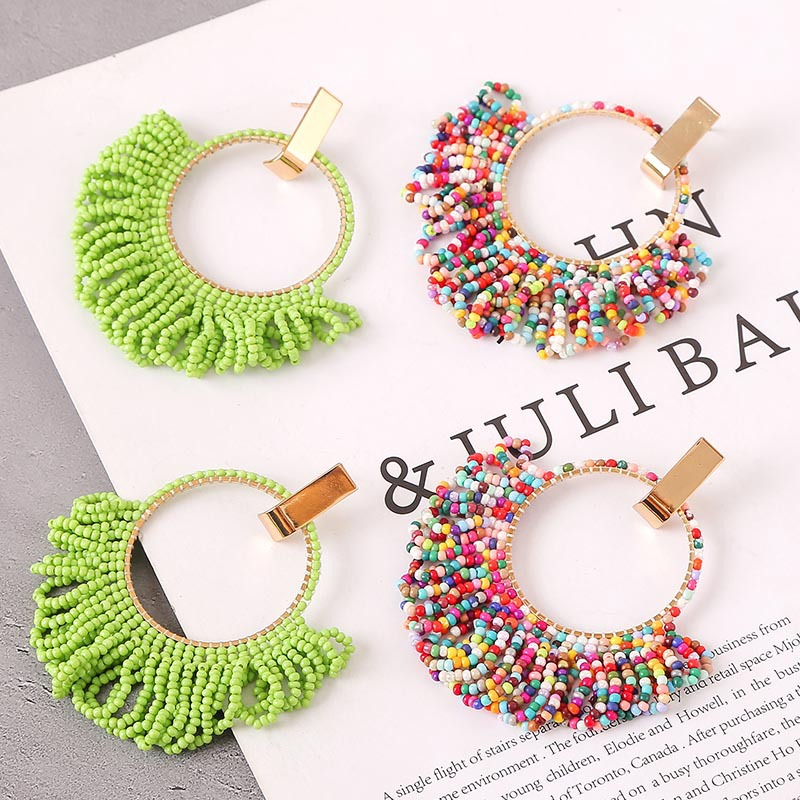 Hand woven colorful fringed rice bead earrings vintage acrylic earring jewelry NHLA204597