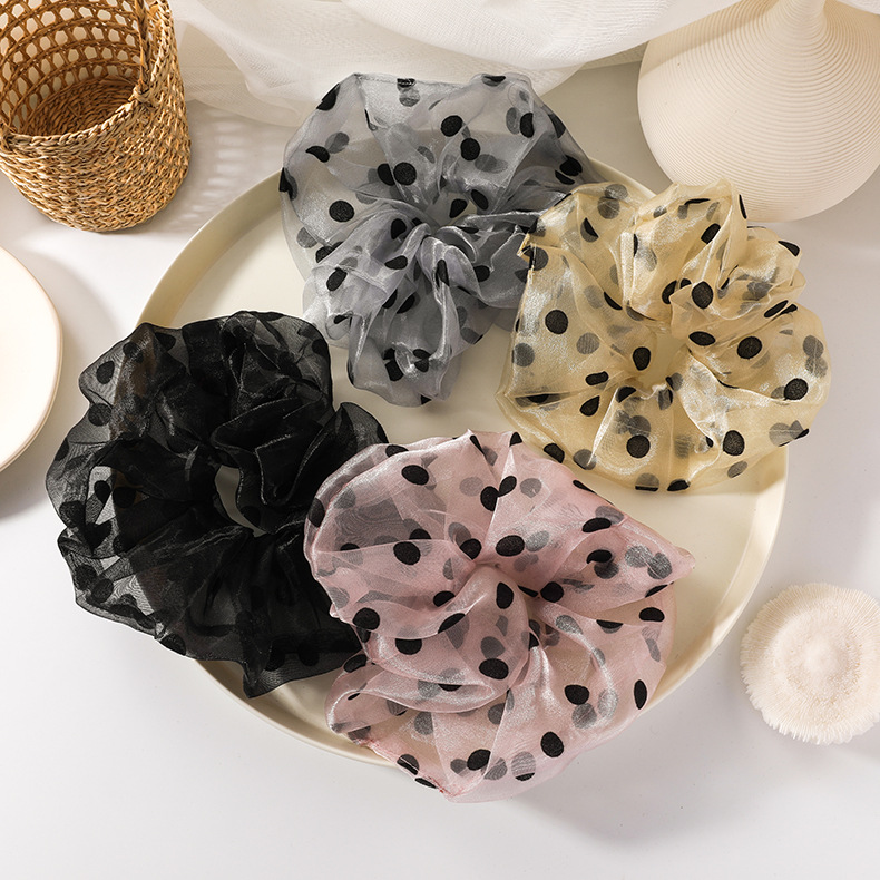 rubber bandhair scrunchiesgirls tie head net red Korean polka dot large intestine hair ring forest leather case head rope NHMS218310