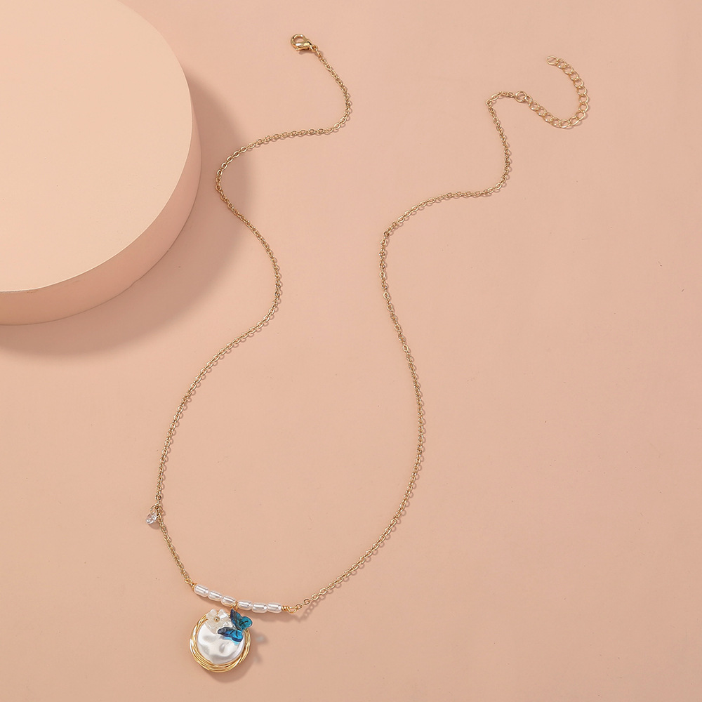 simple all-match pearl handmade oval pendant single-layer elegant necklace  NHAN268423
