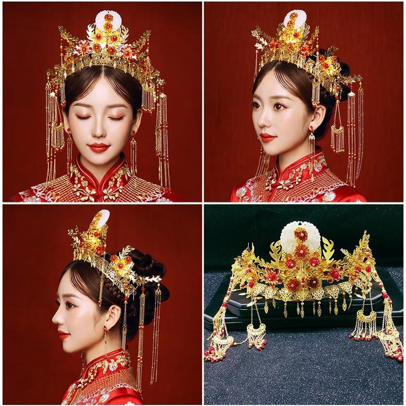 Bride Xiuhe Headdress Phoenix Crown Headdress Ancient Chinese Wedding Hanfu Costume Step Shaking Hair Ornament