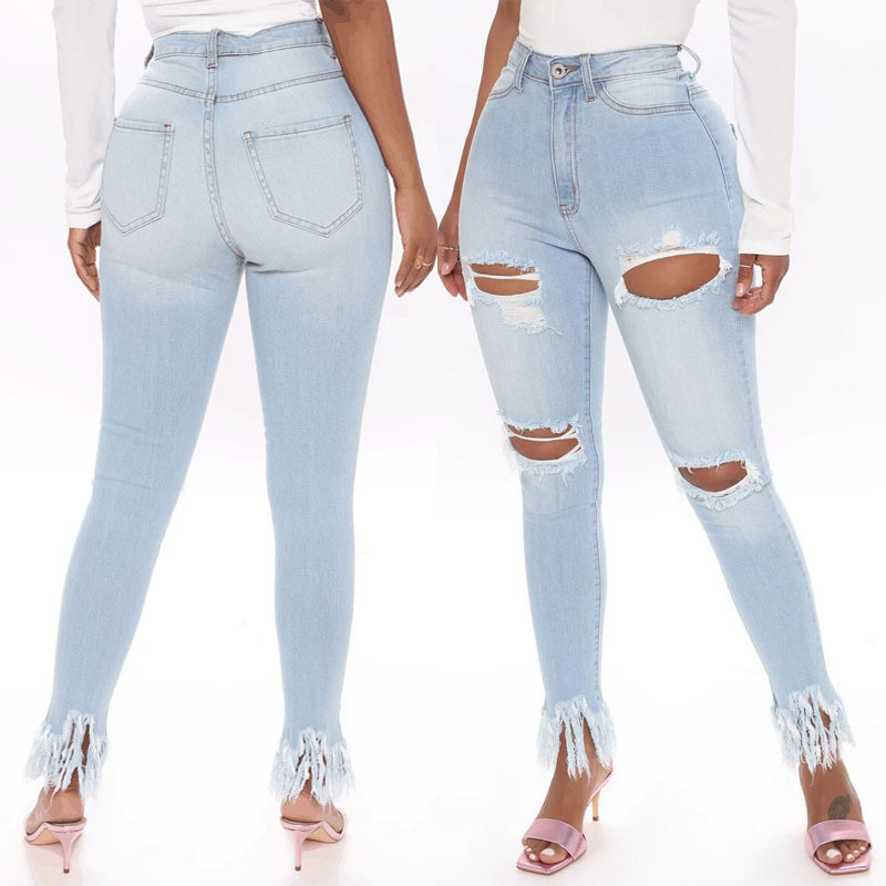 Women'S Perforated Elastic Jeans High Waisted Skinny Jeans Women'S Tassel
