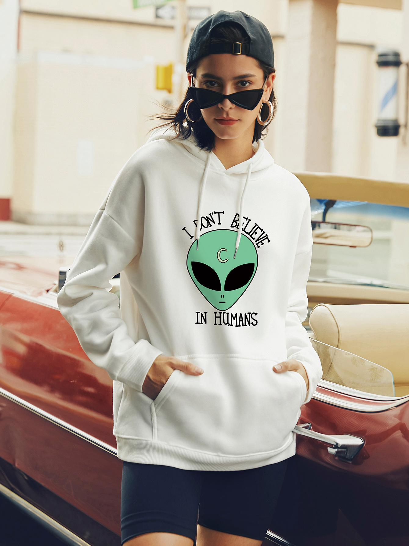 autumn and winter women's hooded sweater alien street casual NSSN373