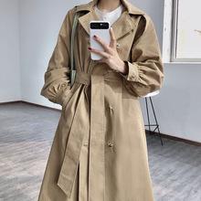 韩版双排扣女式风衣 2020春新款韩版中长款女简约Ins风外套女