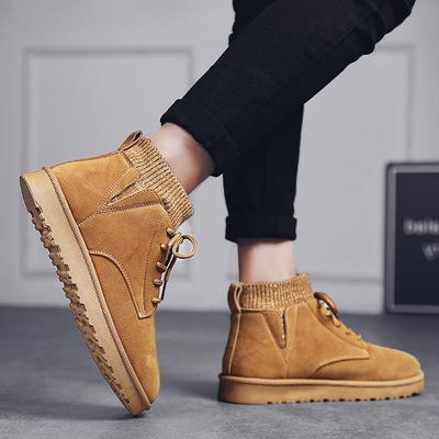2021冬季马丁靴男高帮加厚英伦风工装靴韩版袜子口加绒保暖雪地鞋