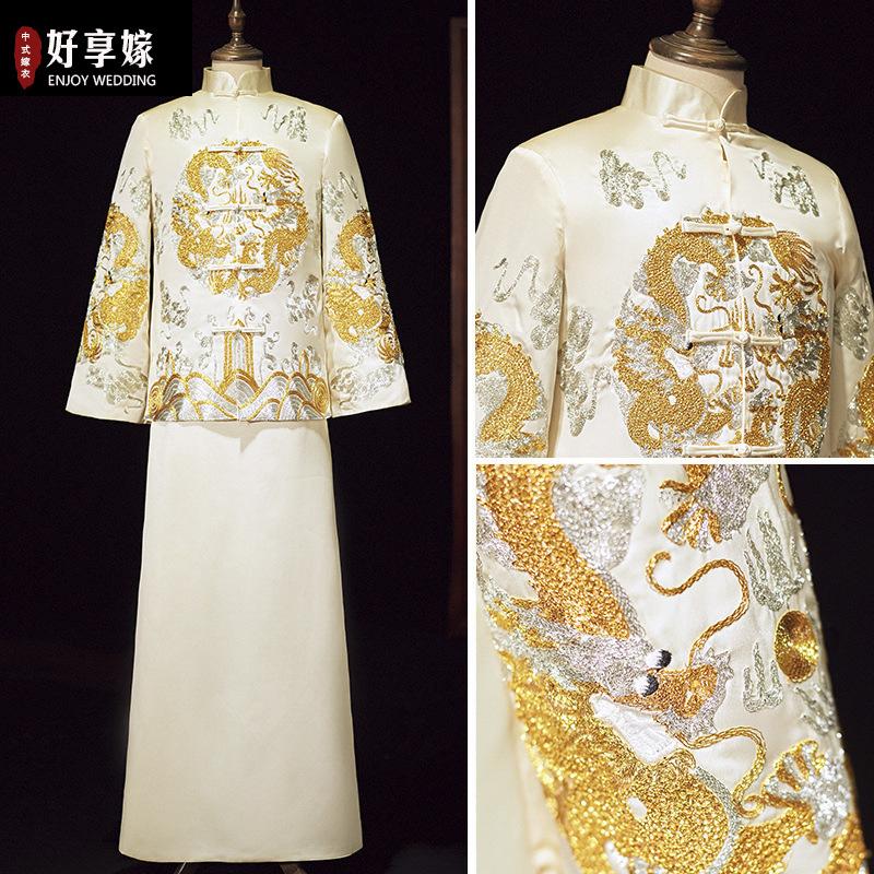 香槟金色秀禾服男装中式结婚礼服盘金绣龙凤褂男长衫马褂长袍唐装
