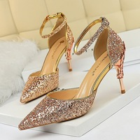 283-a5 European and American sexy hollow women's shoes with metal decoration, high heel, shallow mouth, pointed Sequin, one word with hollow sandals