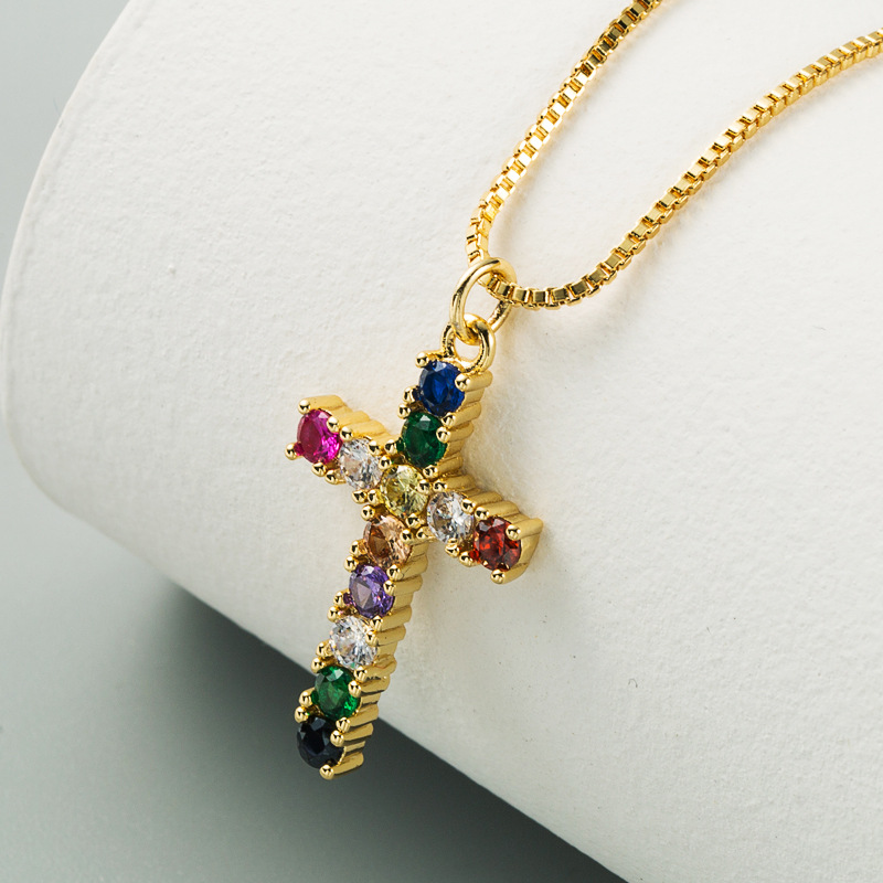 new  fashion pendant brass micro-set color zircon necklace nihaojewelry wholesale NHLN222931