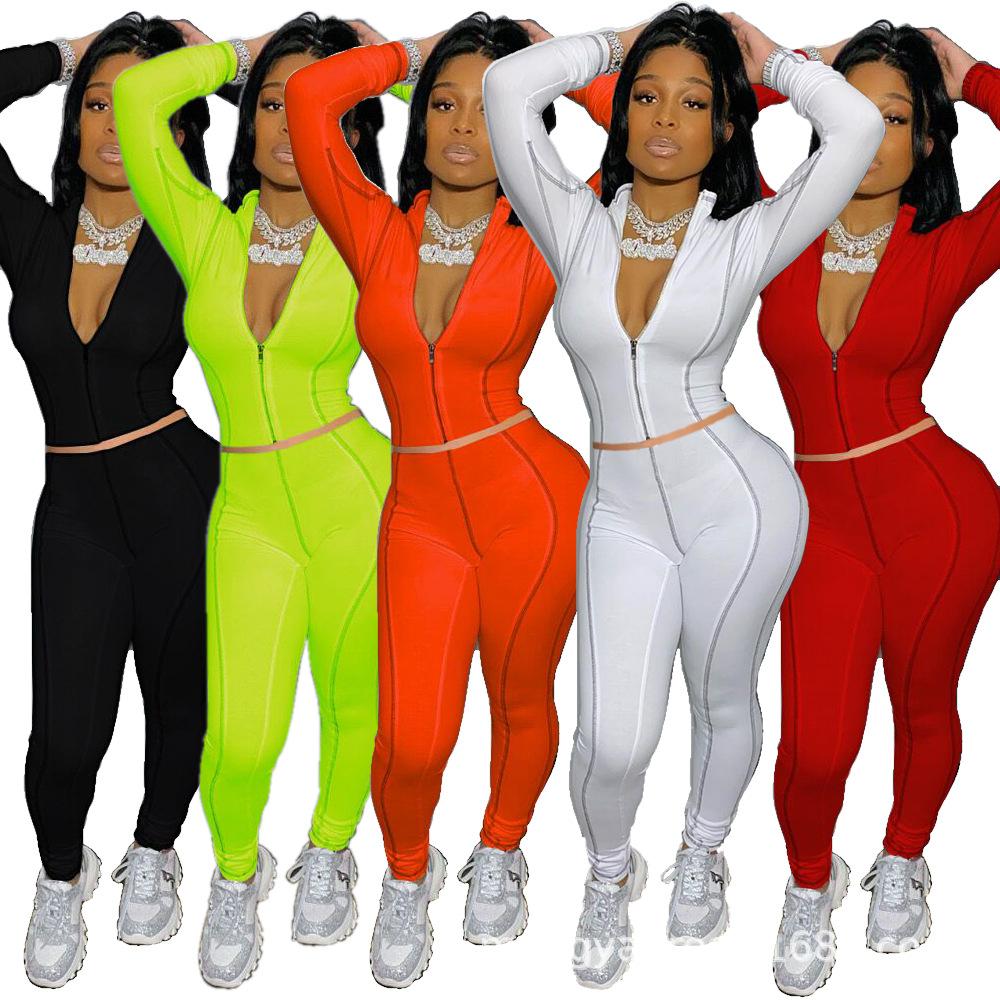 Stylish New Women O Neck Short Sleeves Color Patchwork Skinny Long Jumpsuit 2pcs