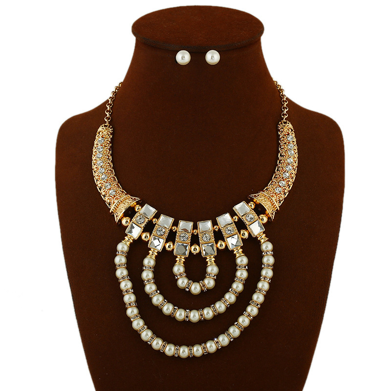 fashion new popular  exaggerated pearl  necklace and simple  earrings  set  nihaojewelry wholesale NHVA232945