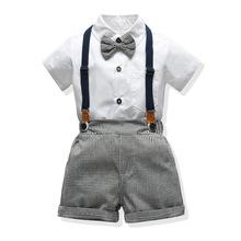 3歲男寶寶套裝千鳥格子背帶短褲翻領短袖禮服春夏韓版一件代發